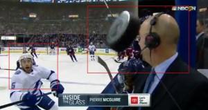 Comentarista casi se encuentra con la muerte: Un disco de hockey endemoniado le rozó la cara EN VIVO (VIDEO)