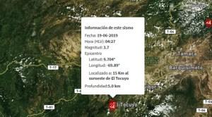 Sismos de magnitud 3.7 y 3.4 se registró en el Tocuyo