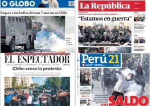 Así reseña la prensa internacional las protestas en Chile