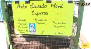 La bicicleta que produce dinero: Inventan un lavadero de carros a domicilio en Anzoátegui (Video)