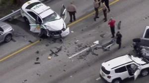 Al menos tres heridos tras violento accidente en autopista Don Shula