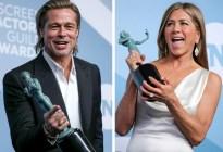 Donde hubo fuego... Brad Pitt y Jennifer Aniston acaparan la atención en los SAG (FOTOS)