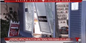 Ladrones impactan carro contra tienda en Hallandale Beach para robar celulares