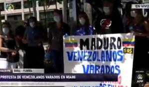 Más de mil venezolanos varados en EEUU protestaron para regresar a su país (Video)