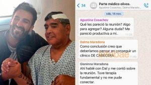 Los chats entre la familia Maradona y los médicos que lo trataron en su casa
